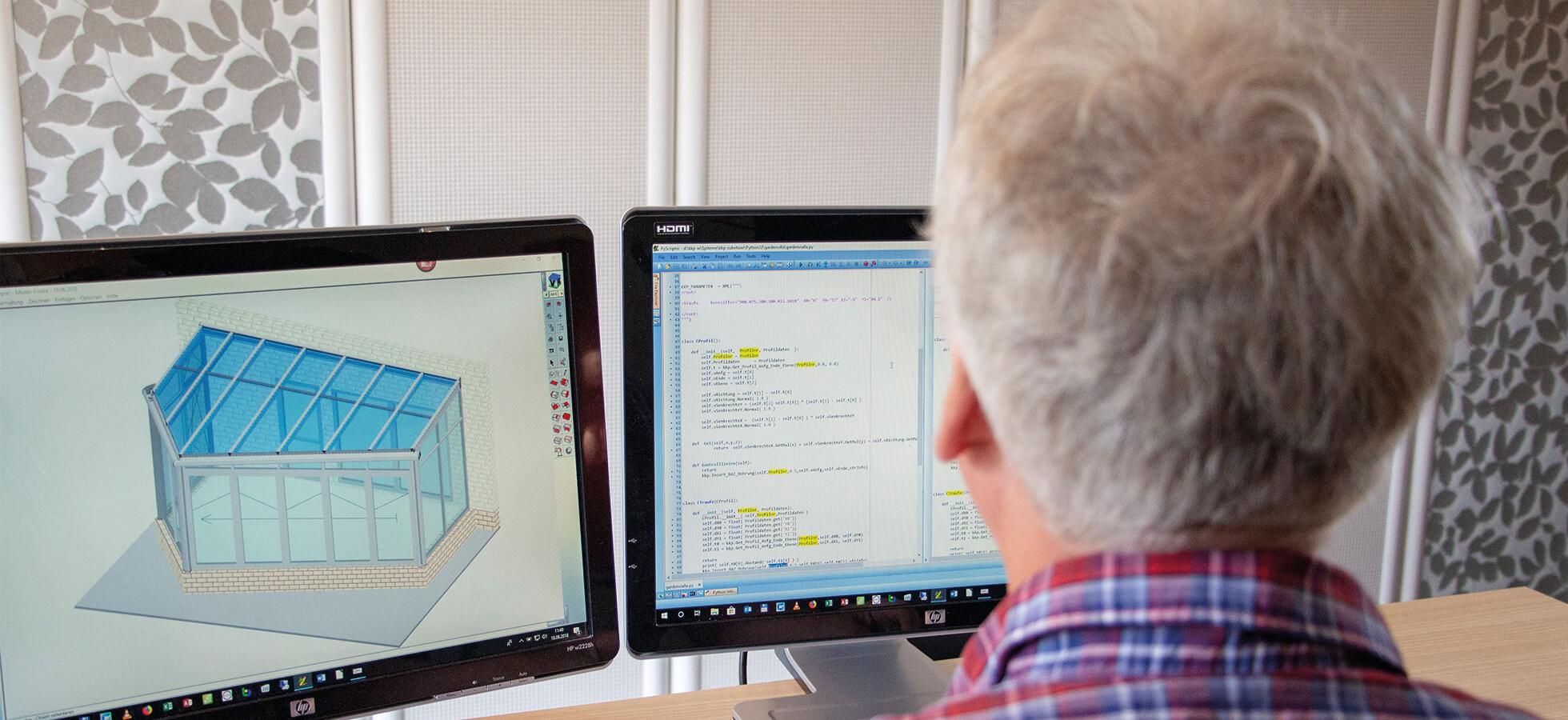 Das Bild zeigt einen Mann bei der Nutzung der KKP Software für Wintergärten und Terrassendächer